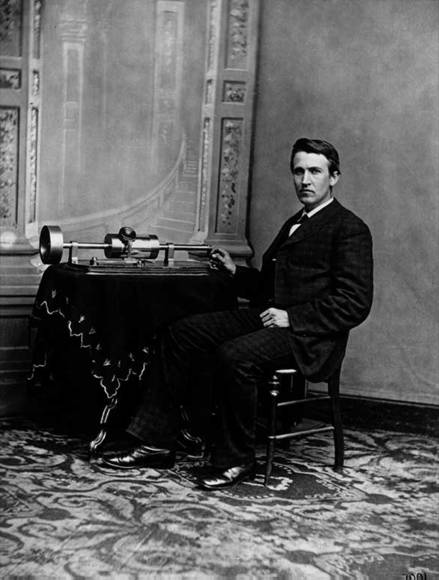 Thomas Edison with Cylinder Phonograph 1878.