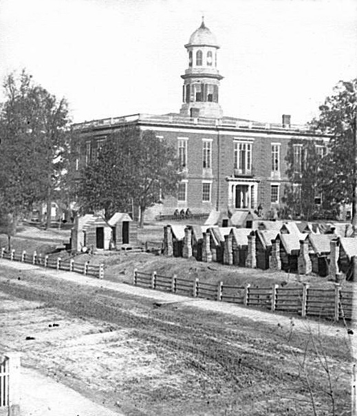 Photo of 'Atlanta, Georgia. City Hall; camp of second Massachusetts Infantry on the grounds.'