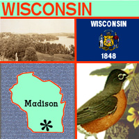 graphic map, bird, seal and image of Wisconsin