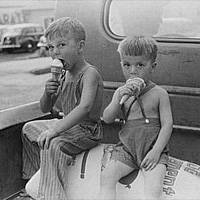 Farm Boys Eating Ice Cream Cones