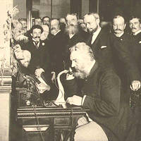 Alexander Graham Bell Speaking on the Phone, 1892.